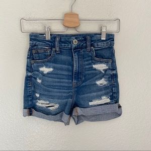 AEO Curvy High Rise Shortie Ripped Jean Shorts